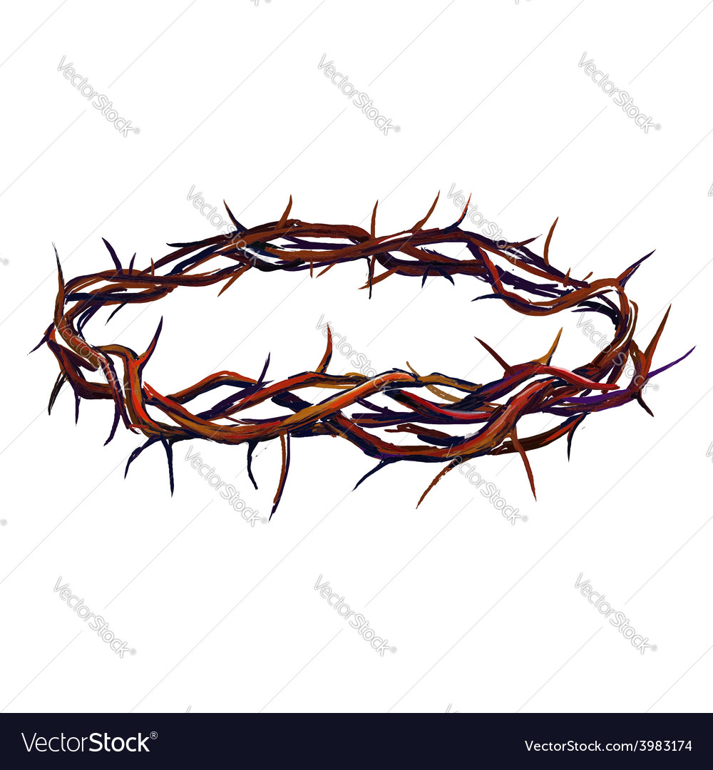 Crown of thorns hand drawn vector