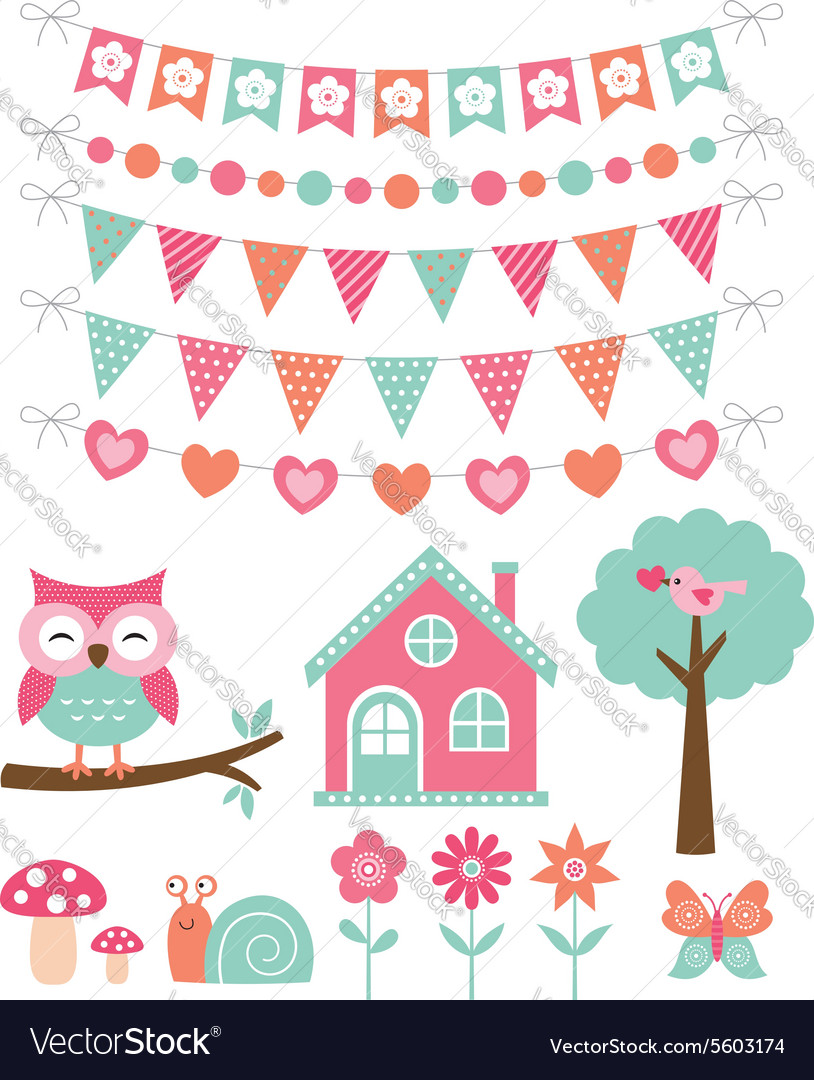 Summer decoration and design elements set vector