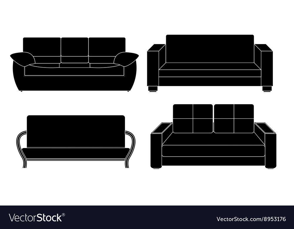 Sofa icon set vector