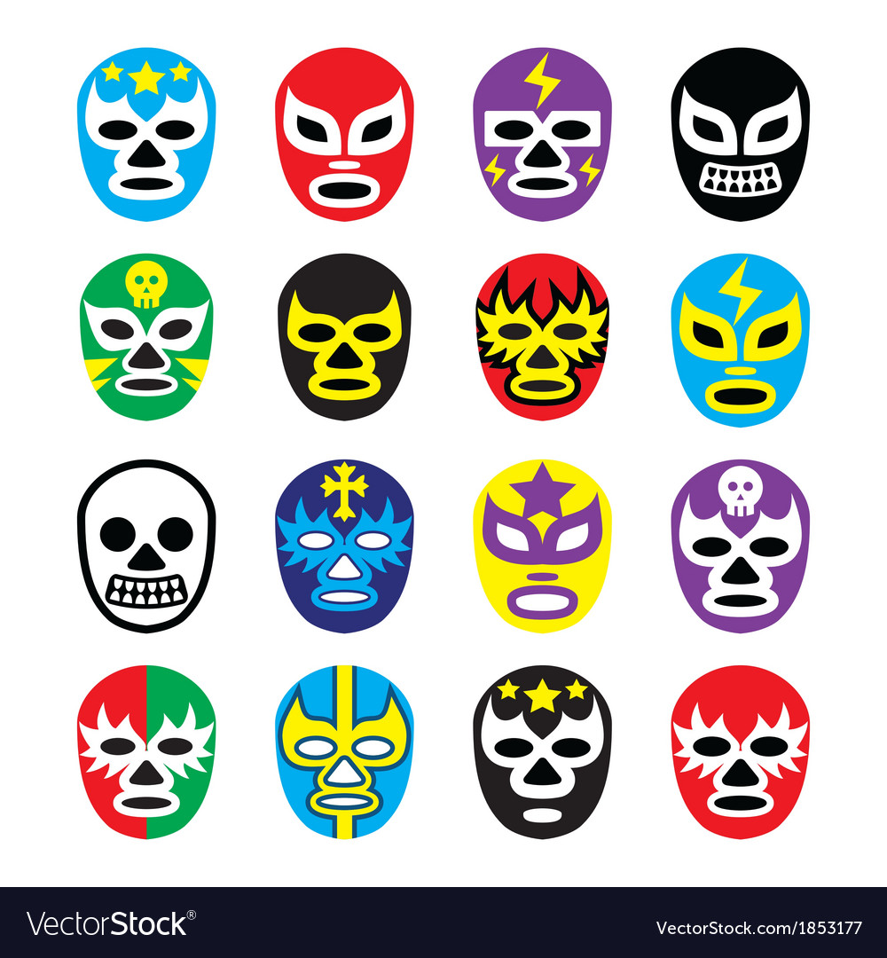 Lucha libre mexican wrestling masks icons vector