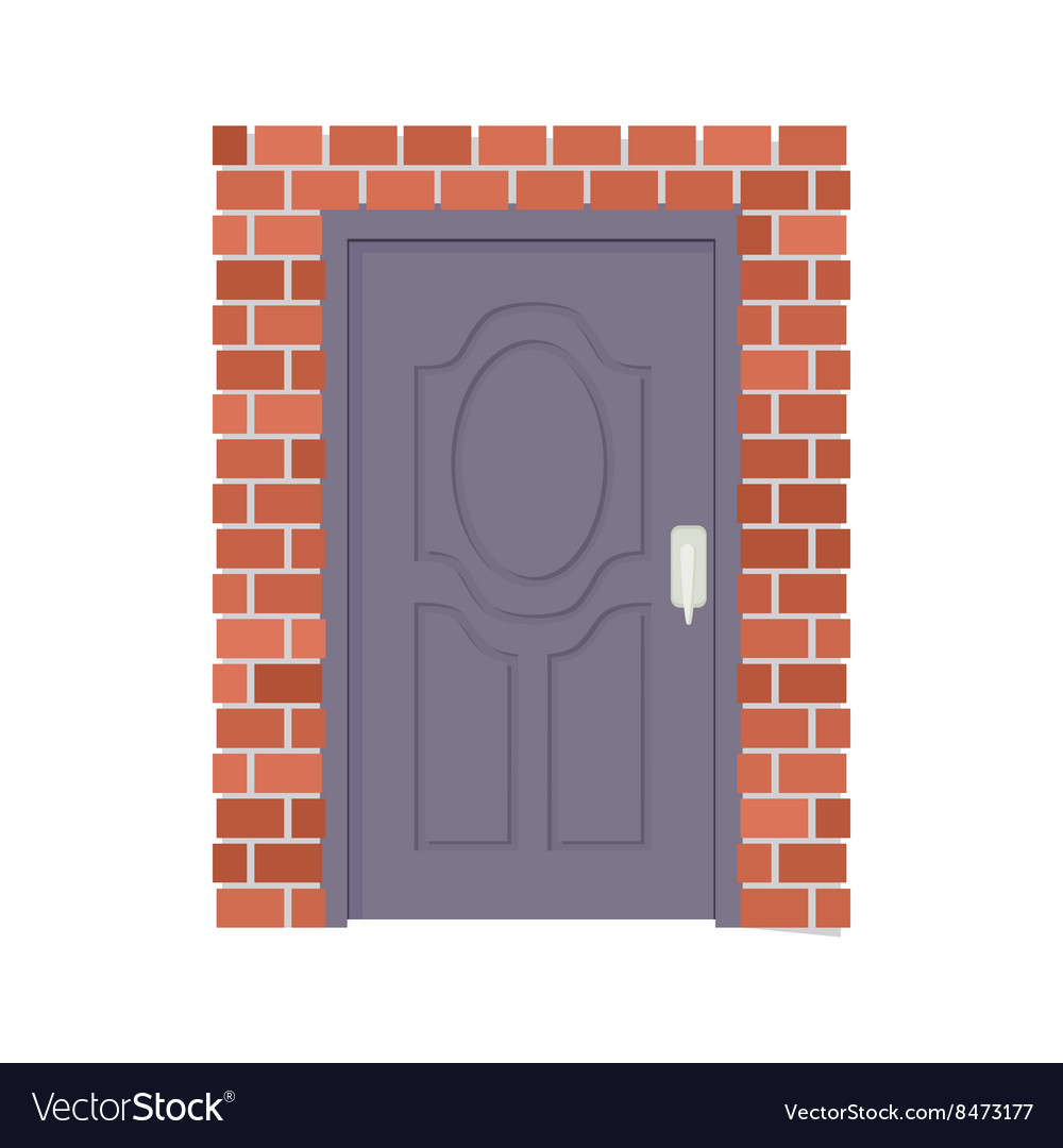 Metal door and brick wall icon cartoon style vector
