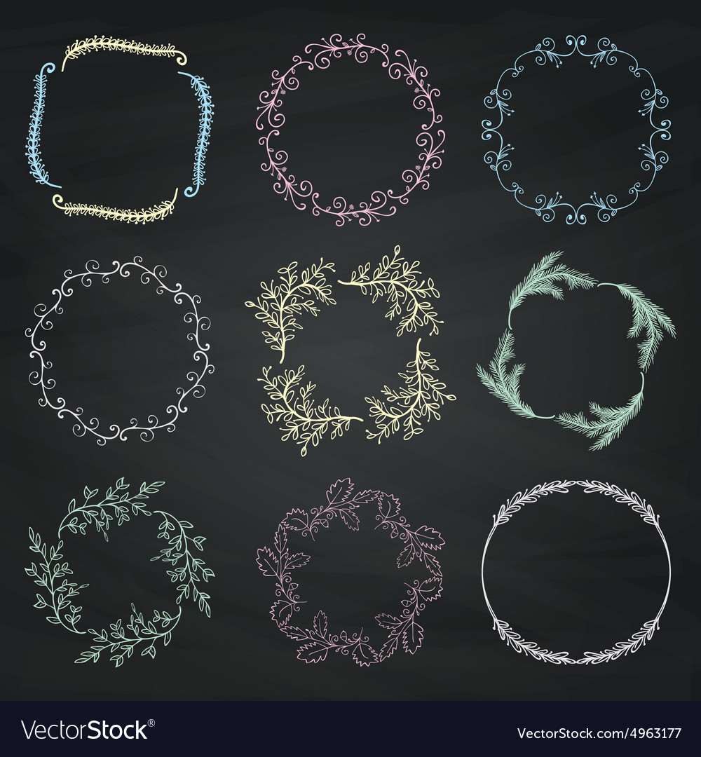 Set of chalk drawing floral borders frames vector