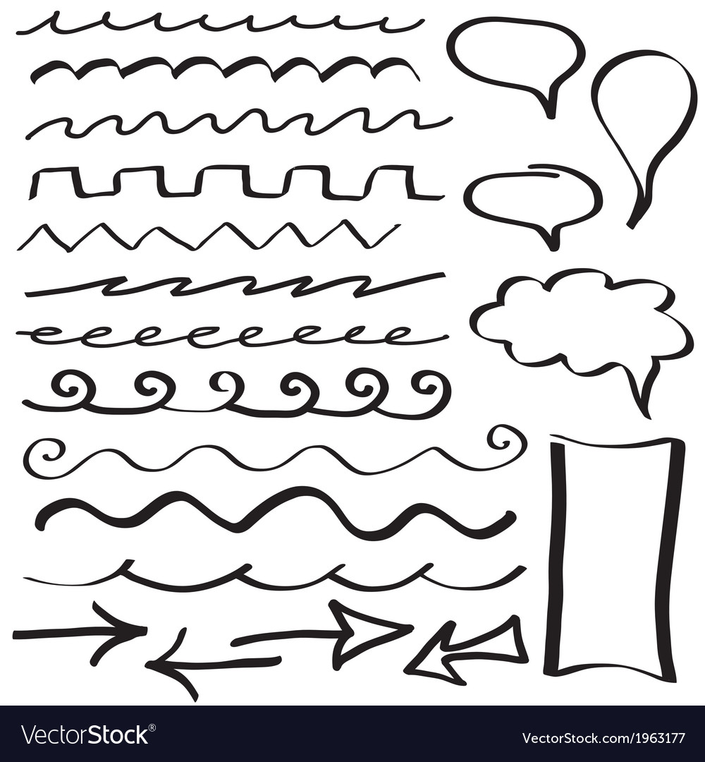 Set of hand drawn border lines vector