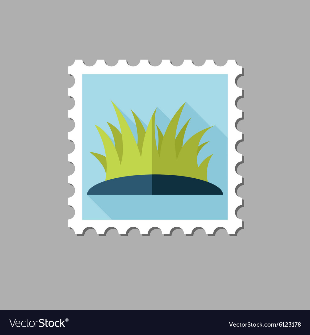 Grass flat stamp with long shadow vector