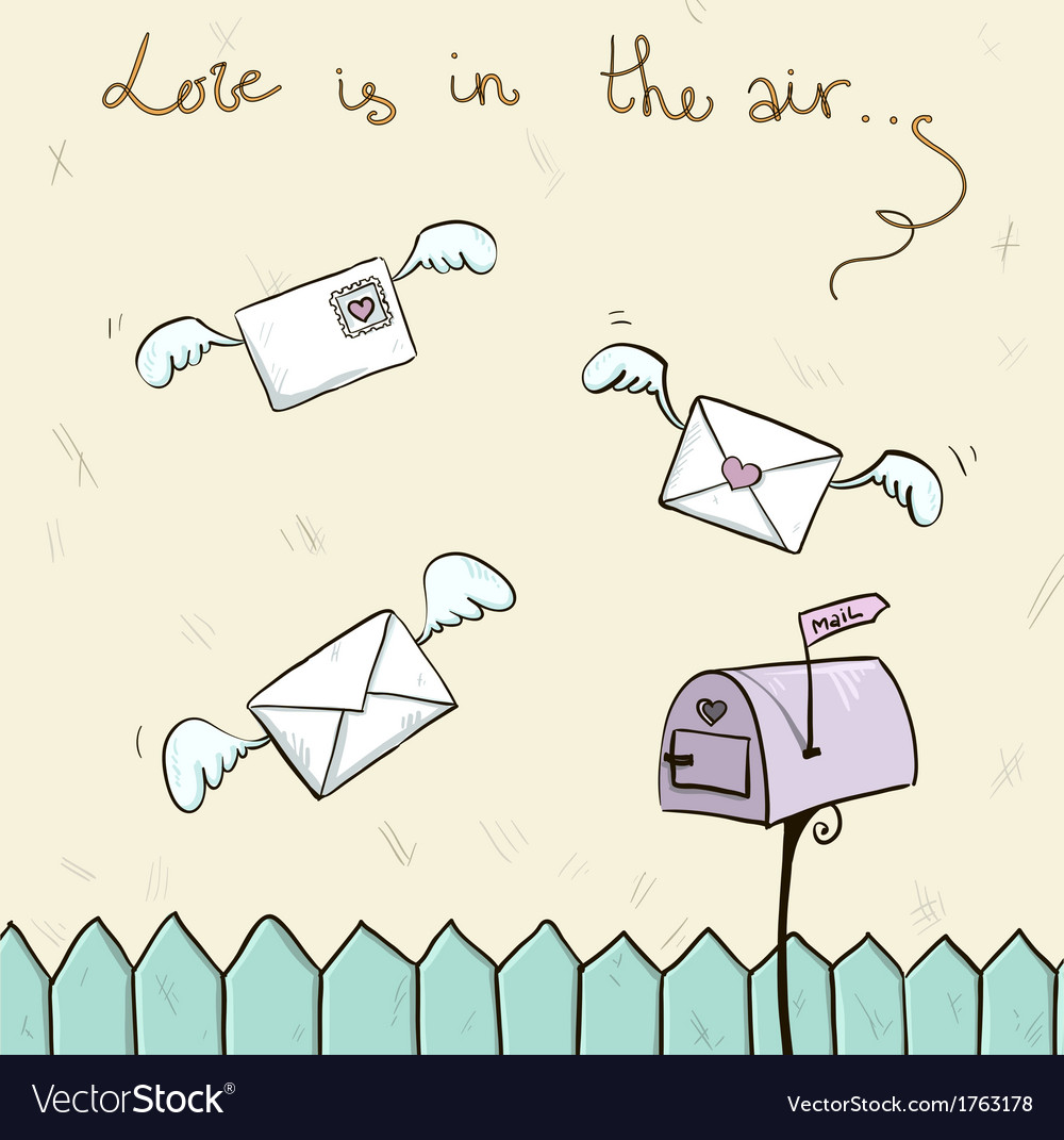Love is in the air winged letters mailbox vector