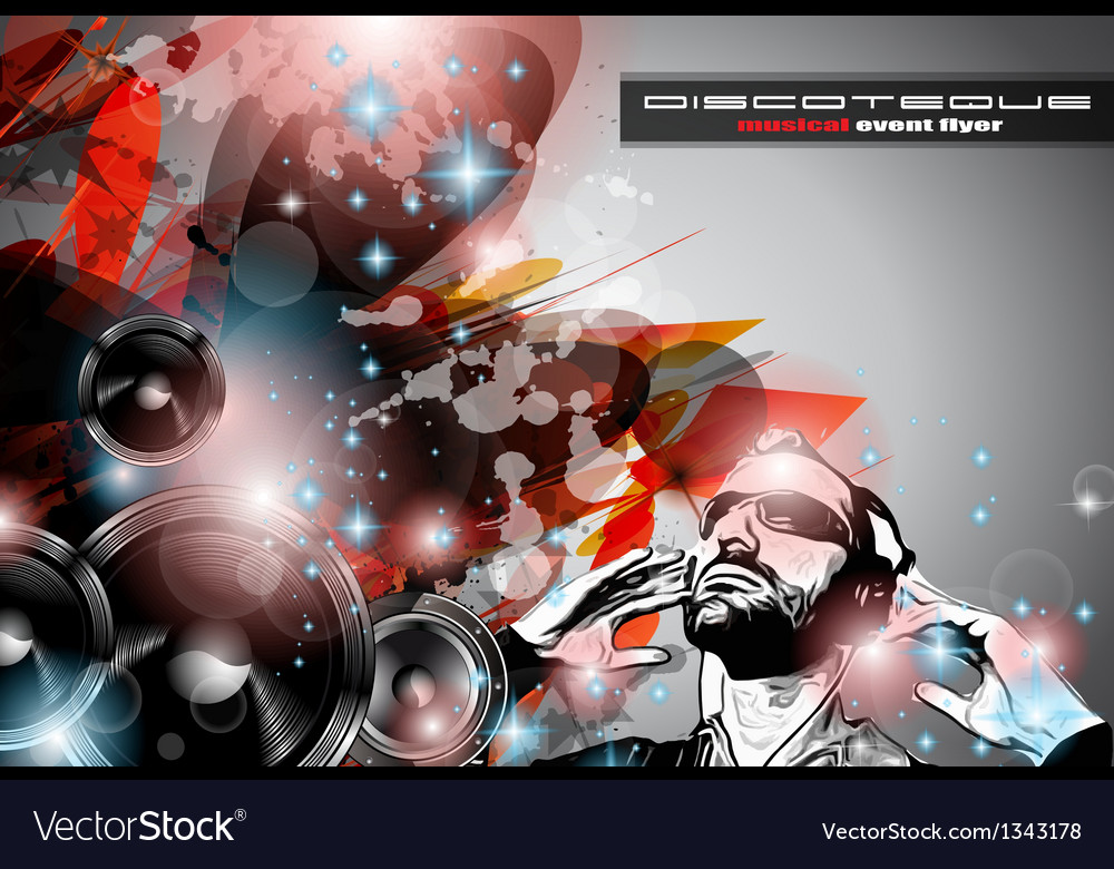 Music club background for disco dance flyers vector