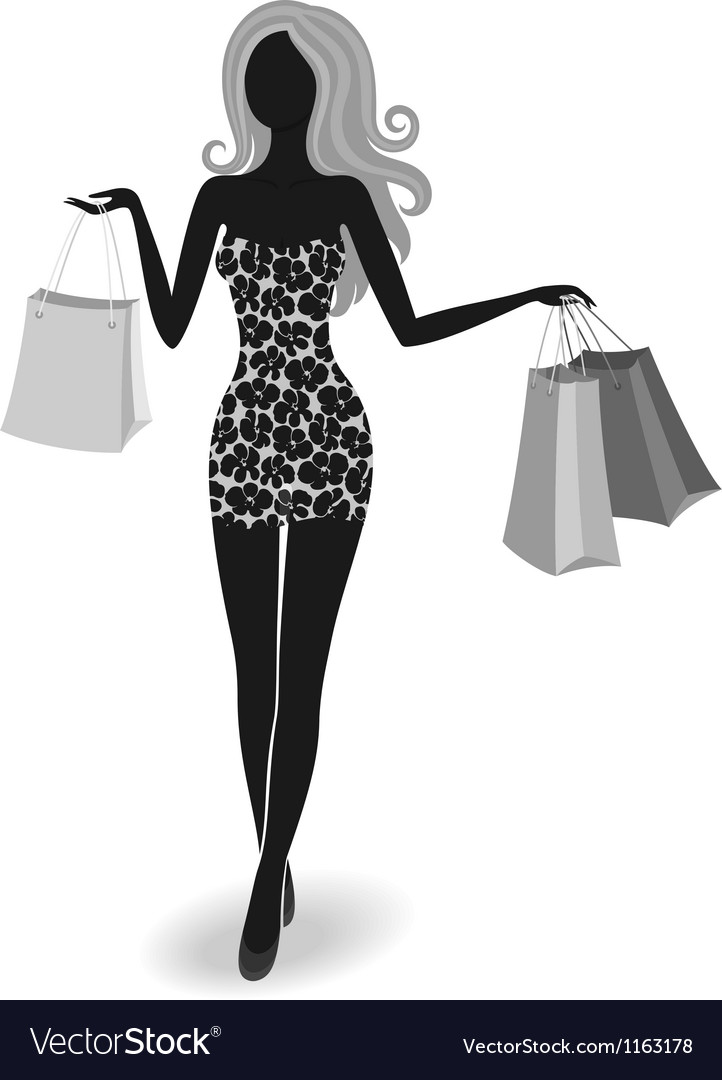 Silhouette of a shopping girl vector