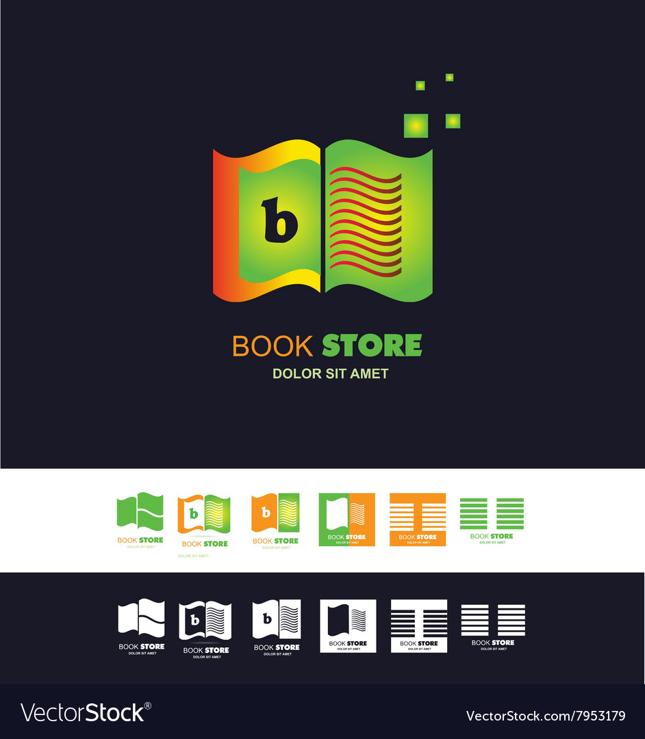 Bookstore open book logo vector