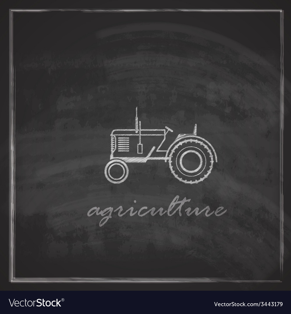 With tractor icon on blackboard background farm vector