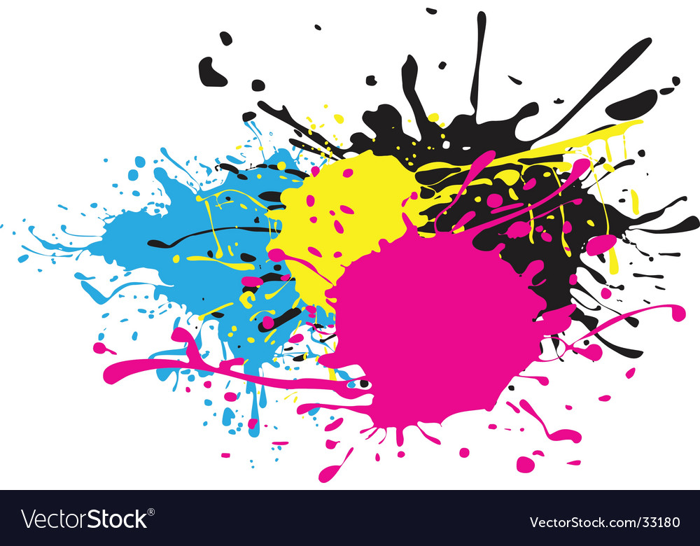 Cmyk paint splat vector