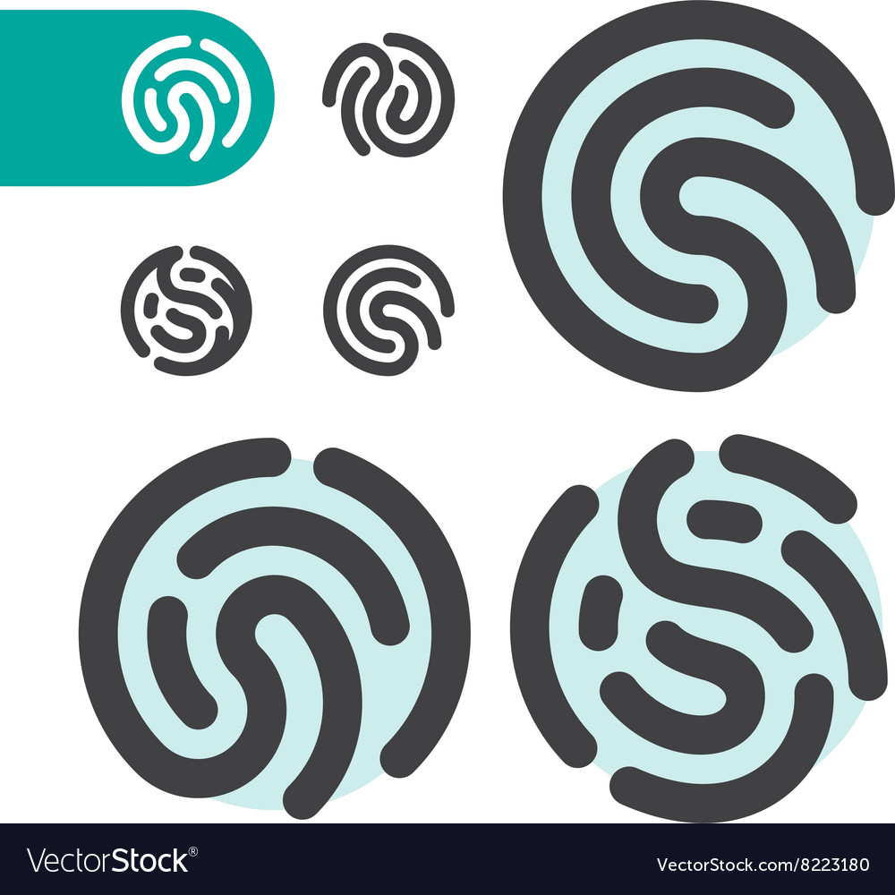Fingerprint logo icon set vector
