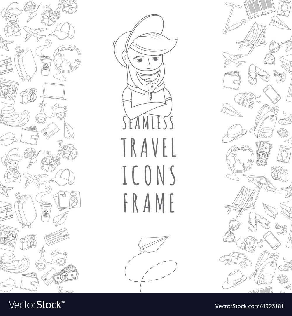 Doodle icons seamless travel frame vector
