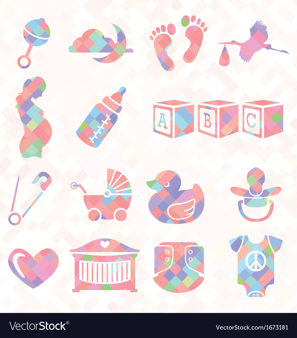 Quilt pattern baby icons vector