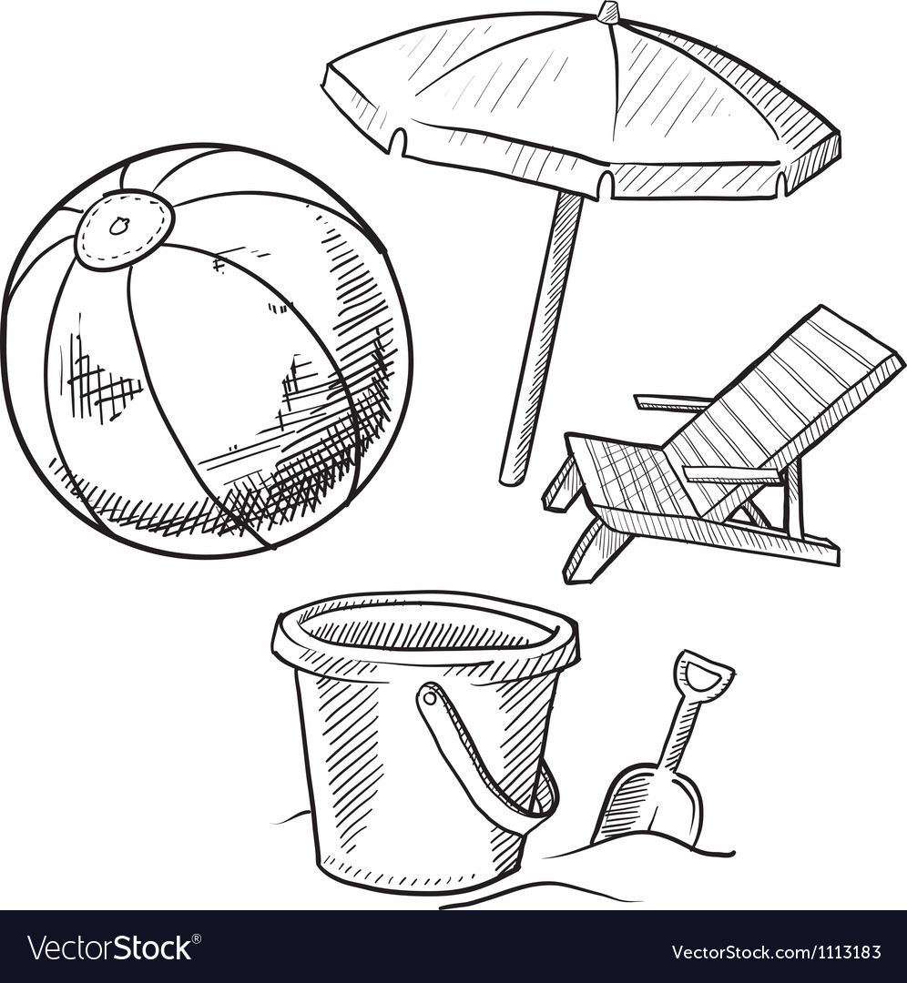 Doodle beach ball bucket shovel chair umbrella vector