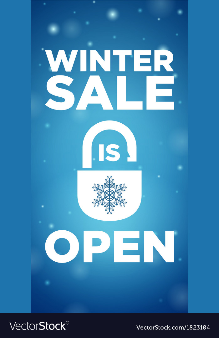 Opening winter sale and lock with snowflake vector