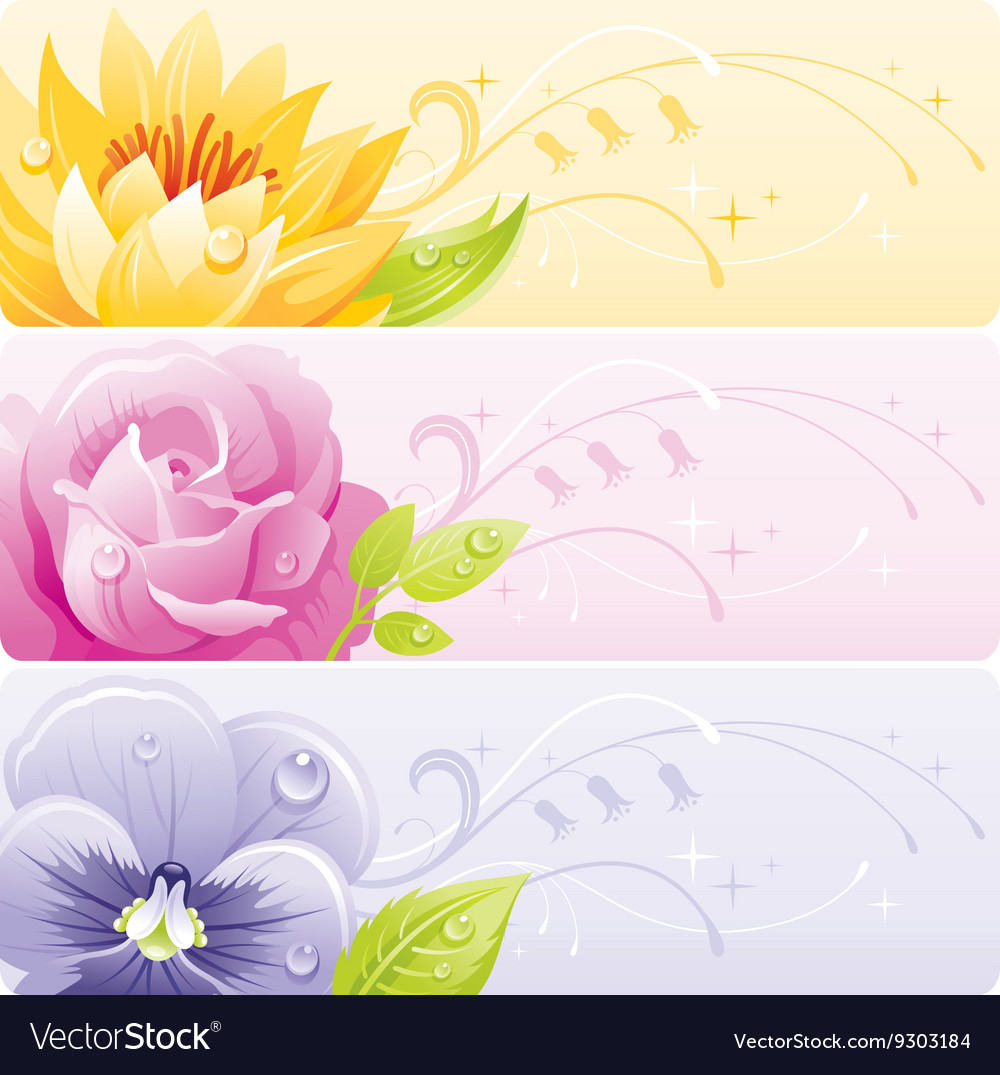 Summer flowers banner set with natural background vector