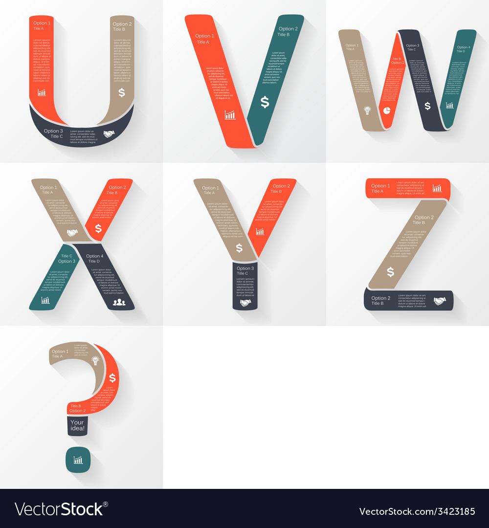 Font infographic diagram with letters vector