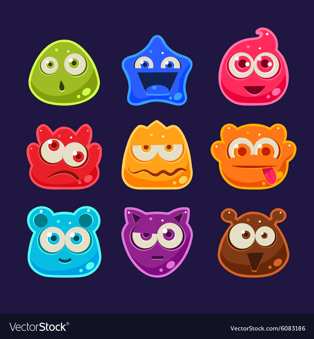 Cute jelly characters with different emotions vector