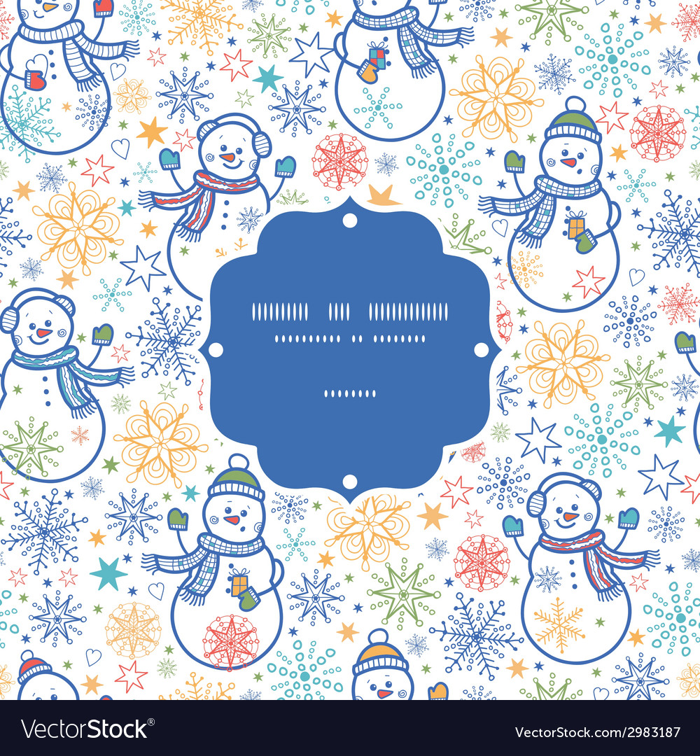 Cute snowmen frame seamless pattern background vector