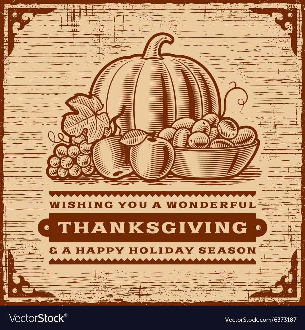 Vintage thanksgiving card brown vector