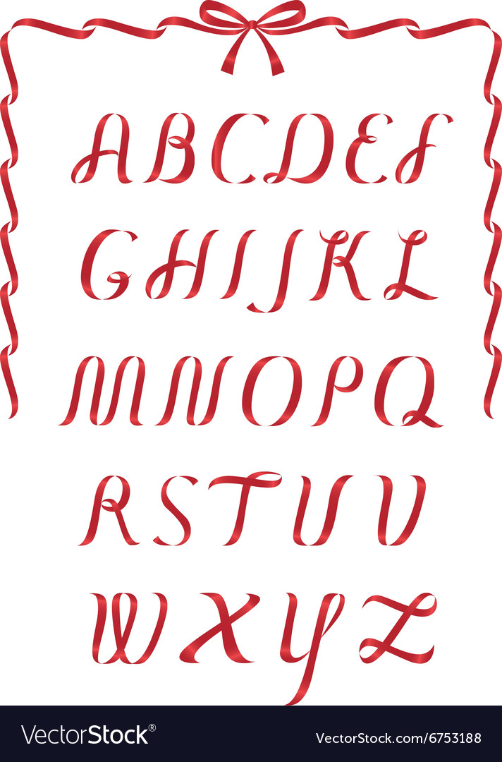 Christmas ribbon alphabet vector