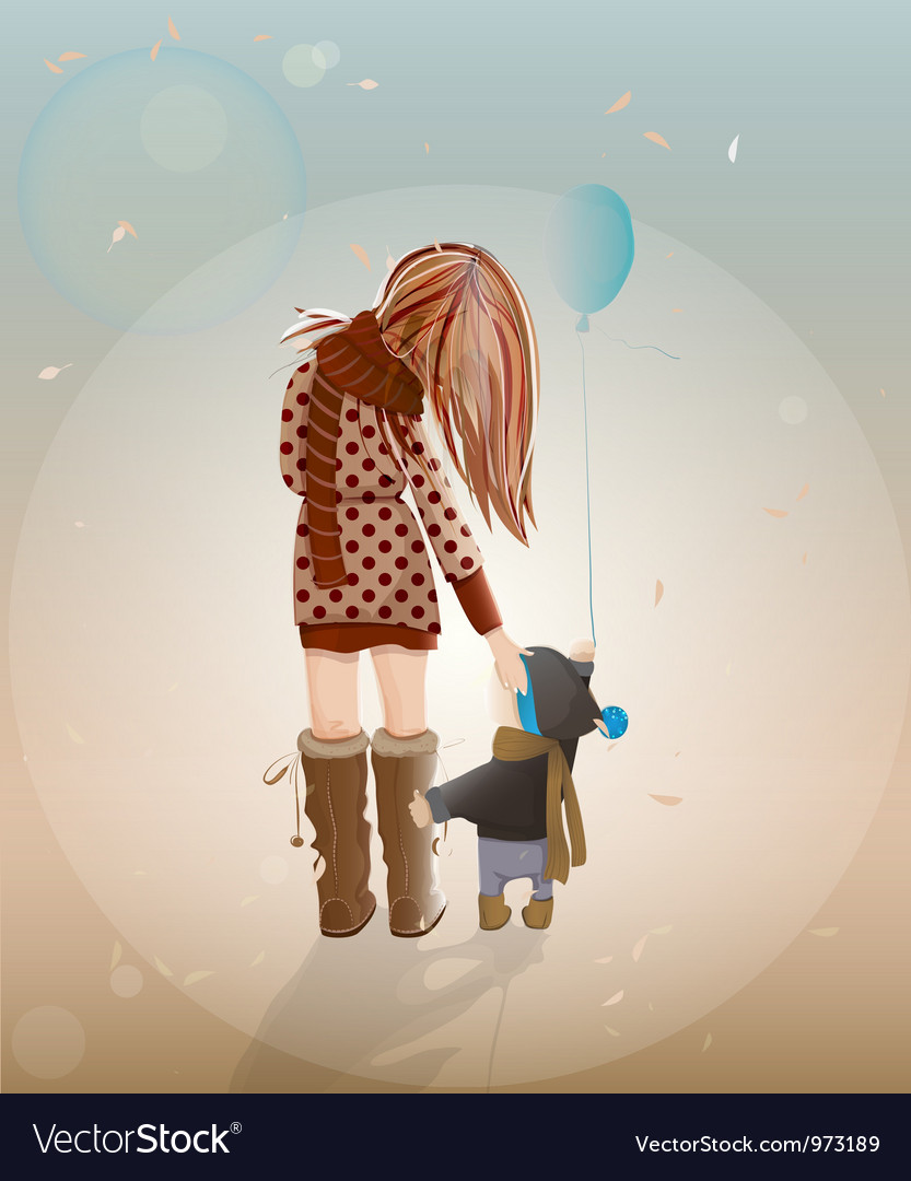 Young mother with a child walking vector