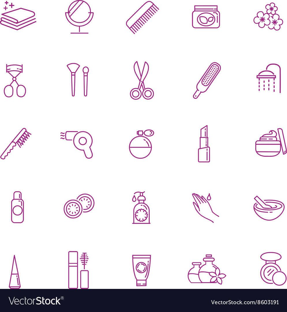 Beauty icons set cosmetic and fashion vector