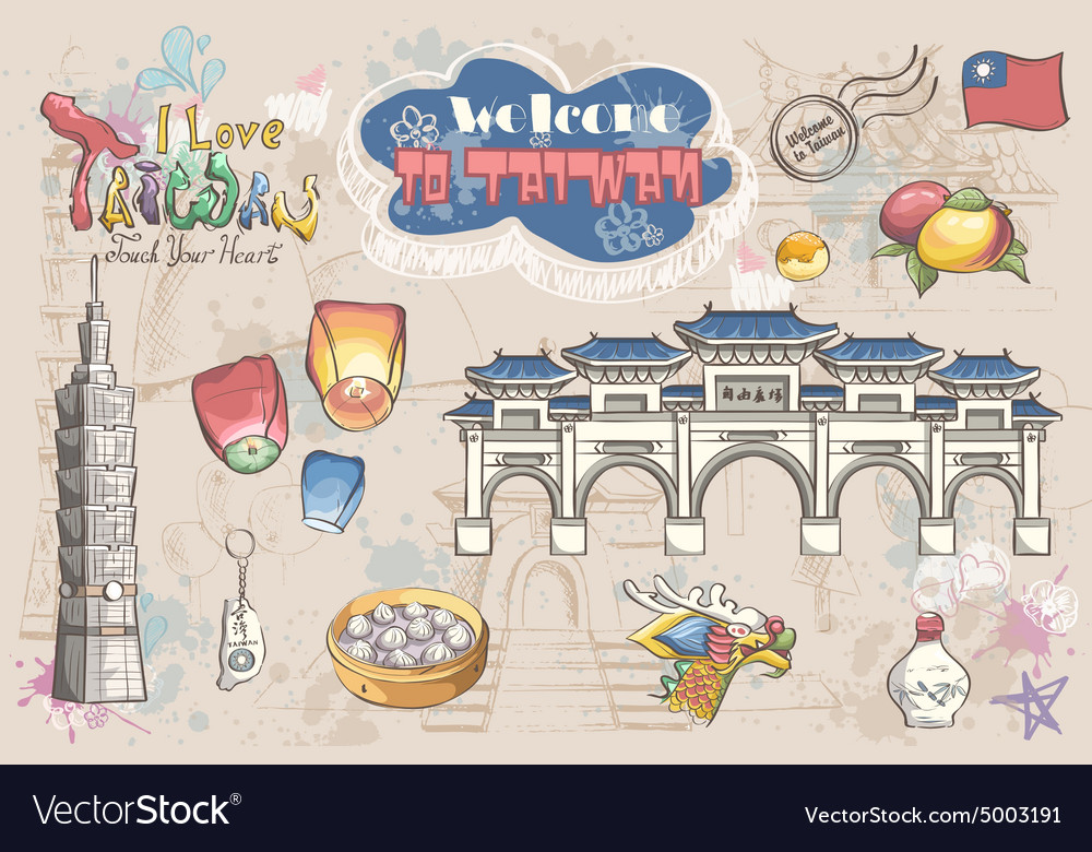 Big set of various attractions  taiwan asia vector