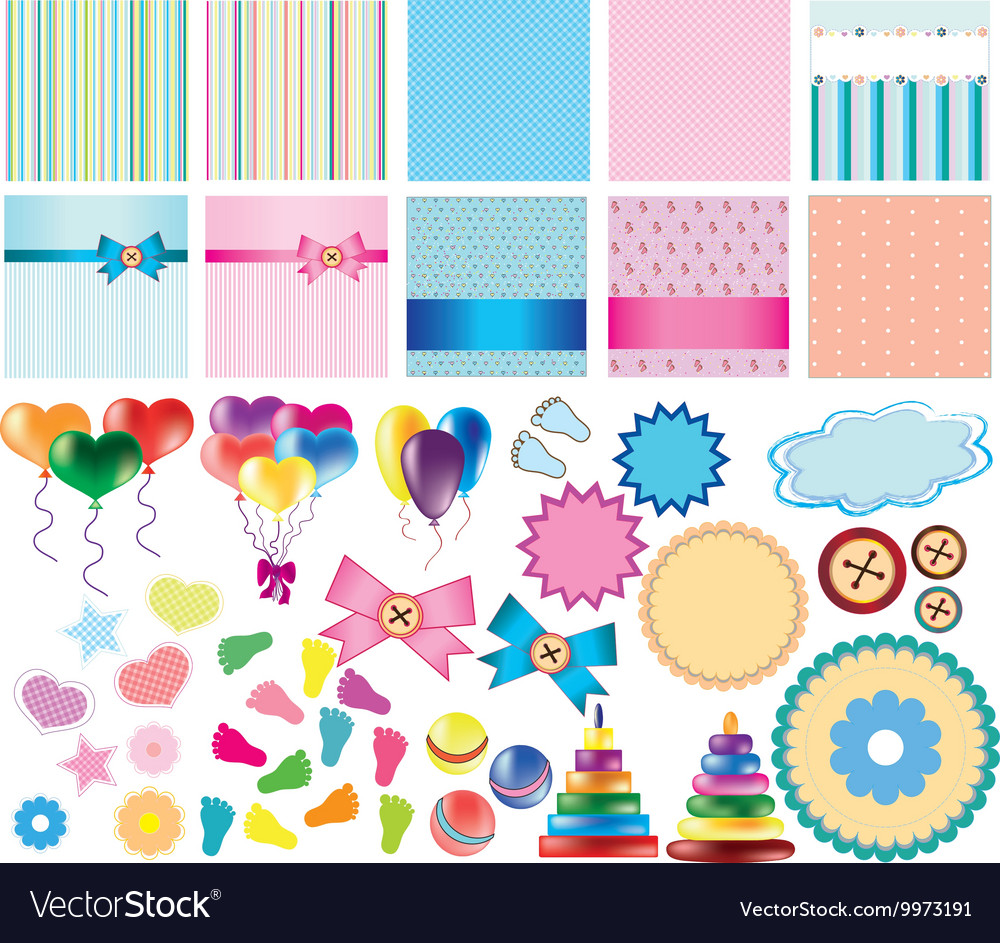 Set of items for card vector