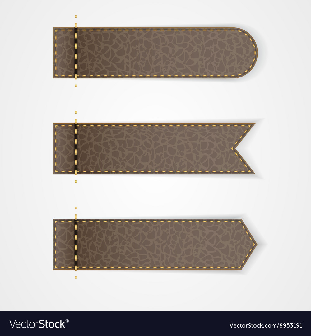 Three brown leather vip label with gold thread vector