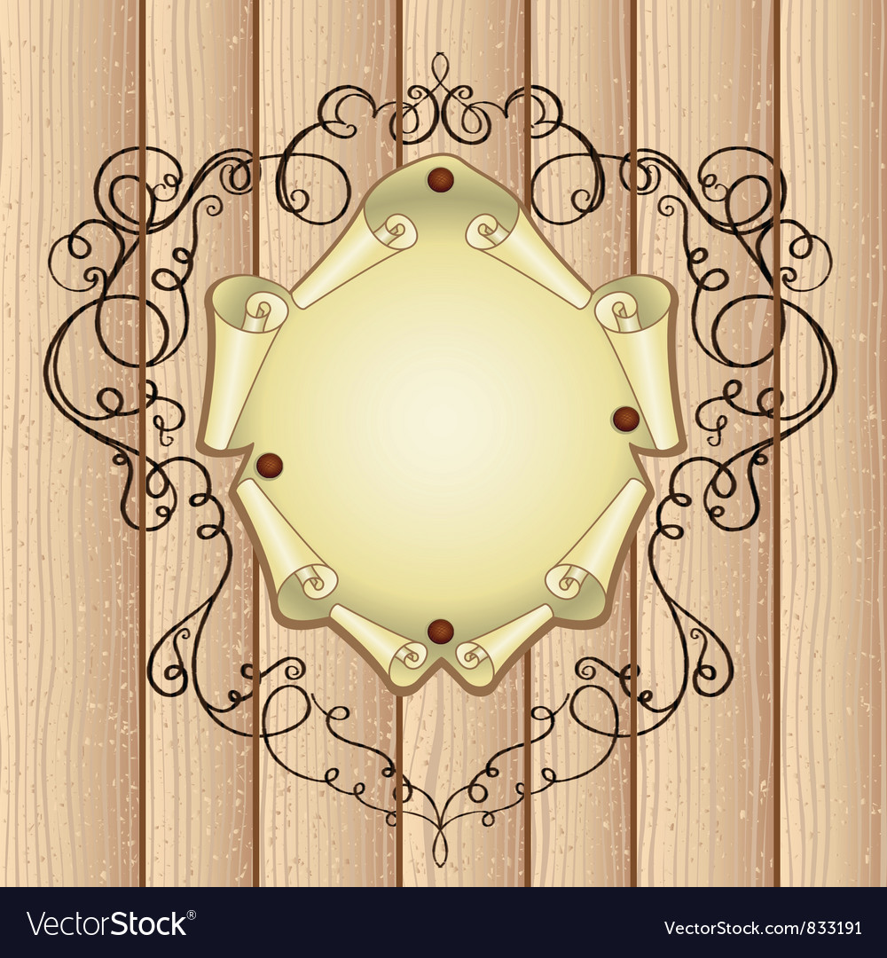 Wooden ornamental frame vector