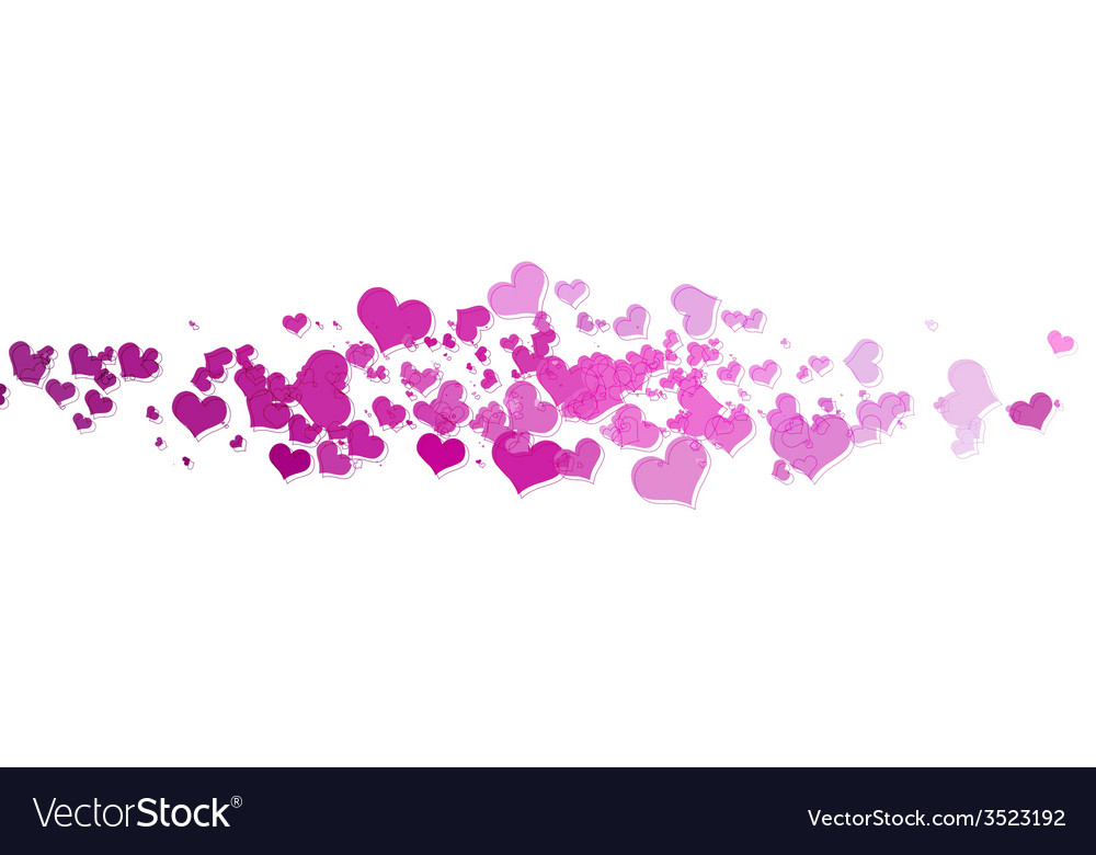 Pink hearts with white background vector