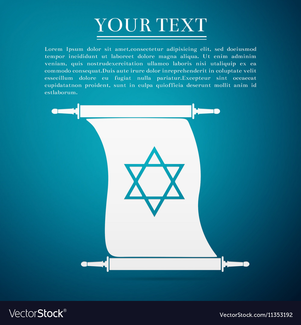 Star of david on scroll flat icon over blue vector