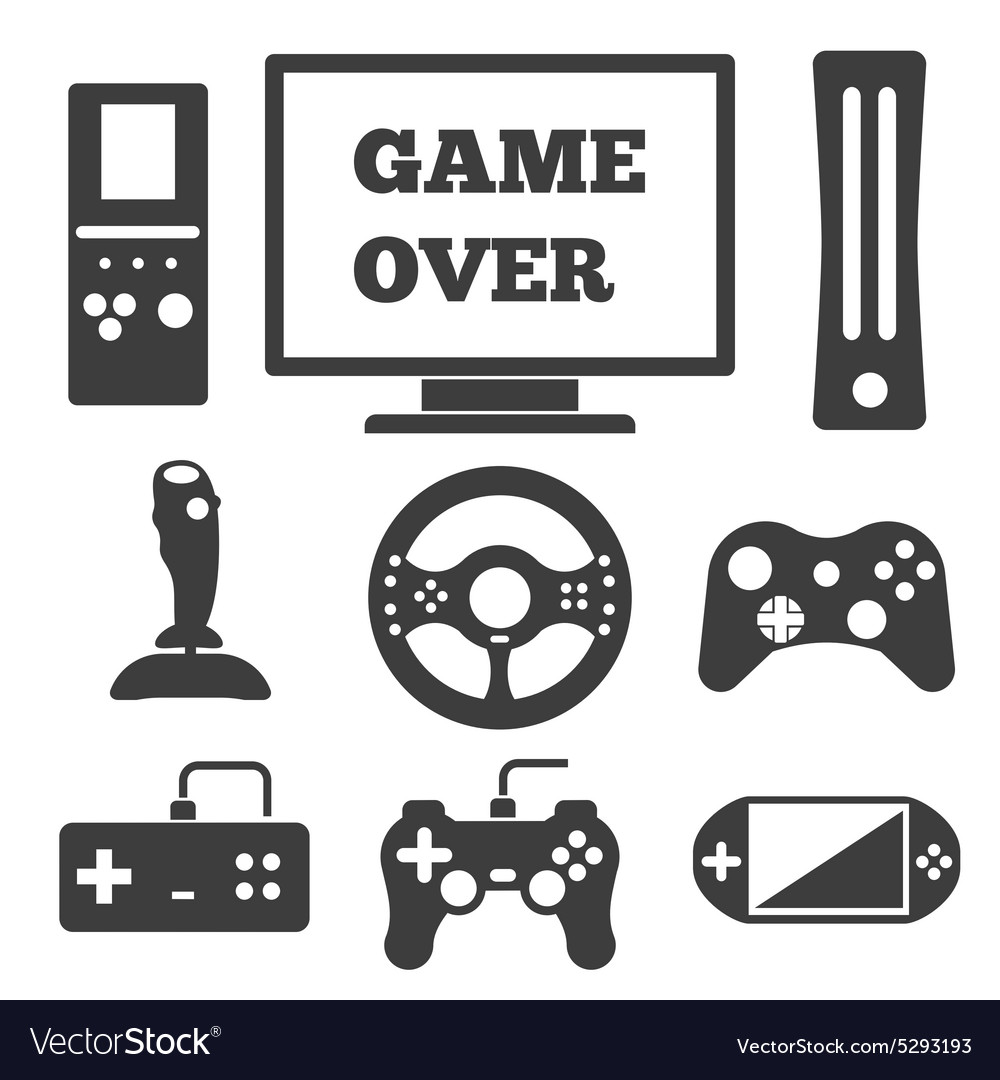 Video game entertaining icons vector