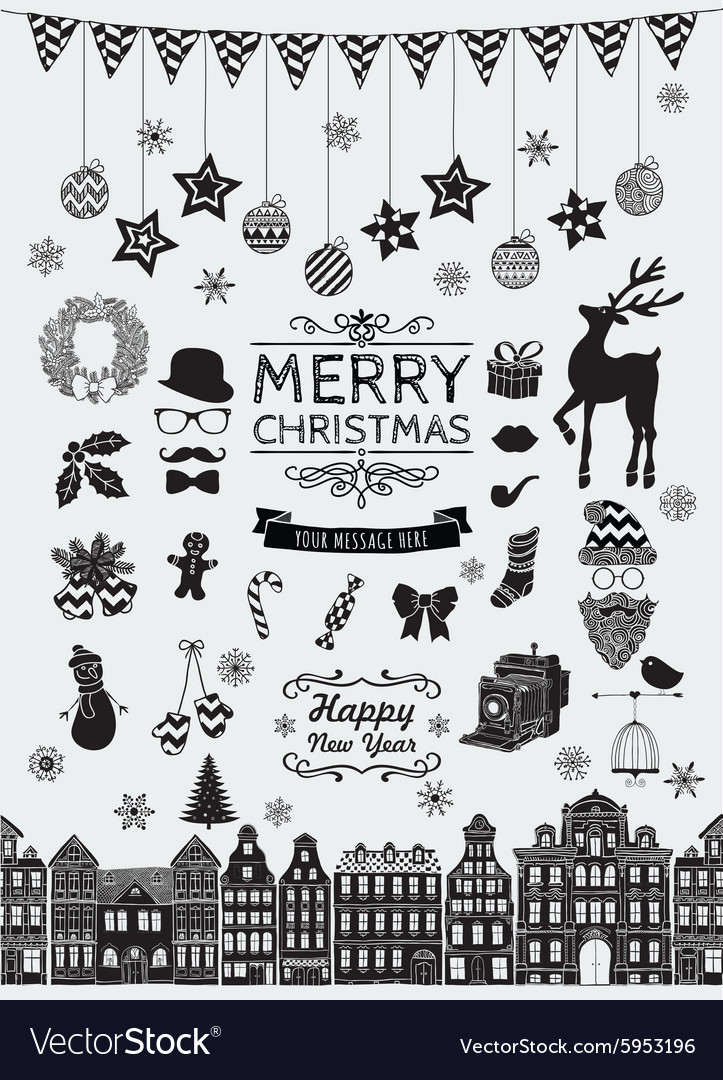 Black hand sketched christmas doodle icons vector