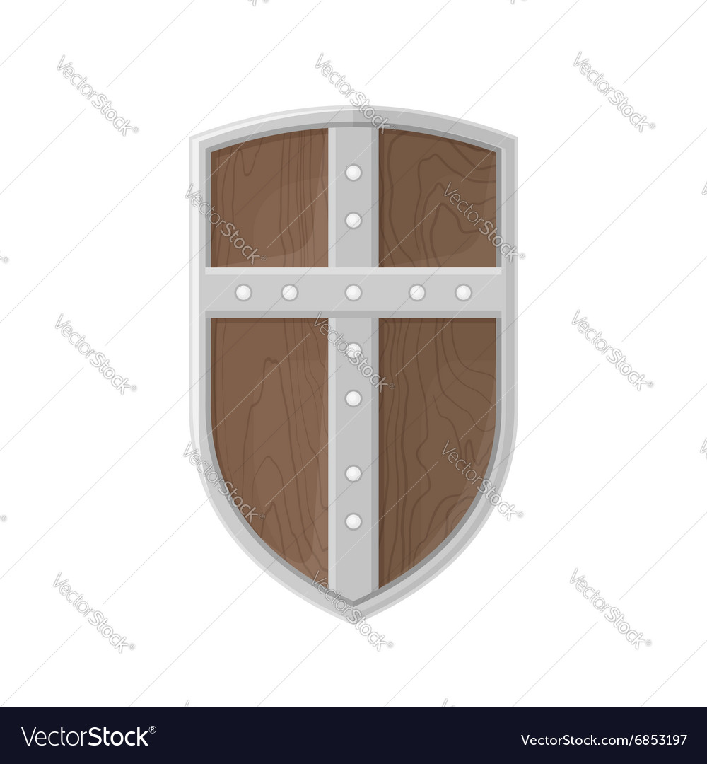 Flat style colored medieval shield with cross icon vector