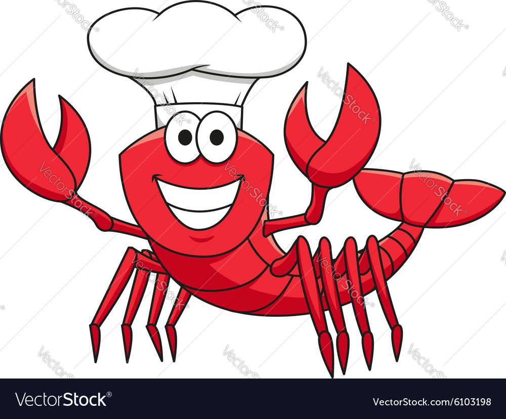 Cartoon red lobster chef in white cook hat vector