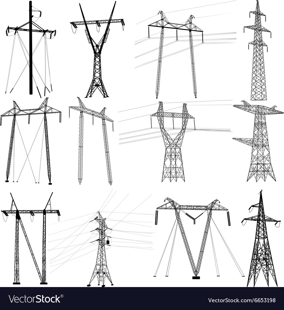 Set electricity transmission power lines vector