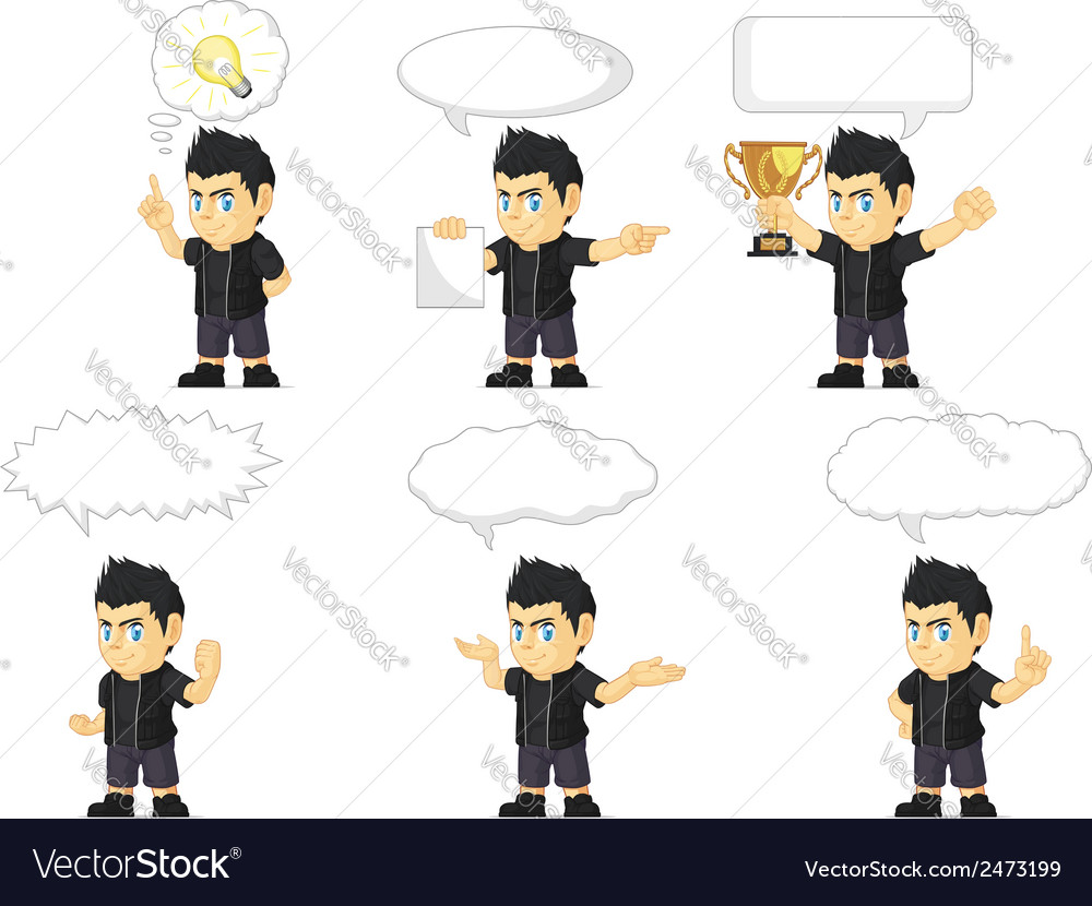 Spiky rocker boy customizable mascot 21 vector