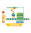 robotic packing conveyor isolated concept vector image
