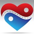 ying yang shape heart vector image vector image