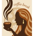 female silhouette with a cup of coffee in hand vector image vector image