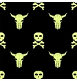 Bull and Man Skull Silhouette Seamless Pattern vector image