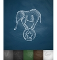 elephant on the ball icon Hand drawn vector image