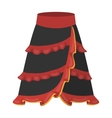Flamenco skirt icon in cartoon style isolated on vector image
