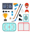 ice hockey icons set ice hockey symbols vector image
