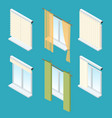isometric windows curtains drapery shades vector image