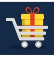 shopping cart gift online store market icon vector image