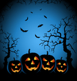 Halloween night with grinning pumpkins on blue vector image