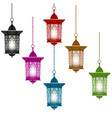 ramadan kareem six multi-colored lanterns in vector image